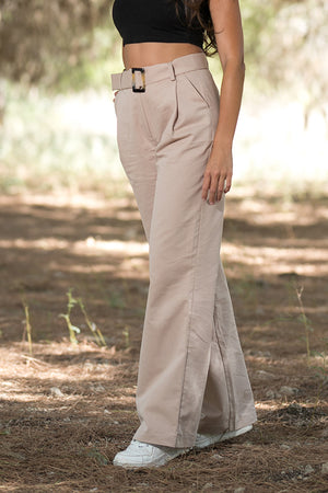 NA-KD - Wide Belted Cotton Blend Pants