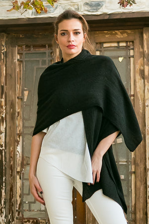 black plain soft scarf