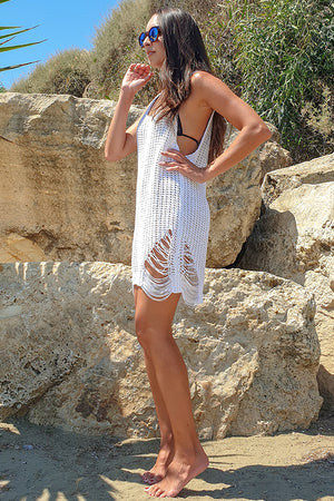 Combos Knitwear – Knitted Summer Distressed Dress White