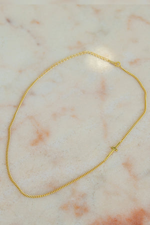 Queencii – Cross Choker Necklace 925 Sterling Silver / 18k Yellow Gold Plated