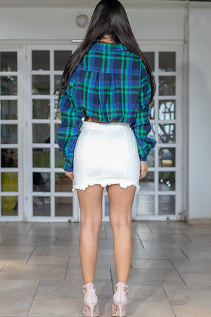 Queencii – Stella High Waist Denim Mini Skirt White