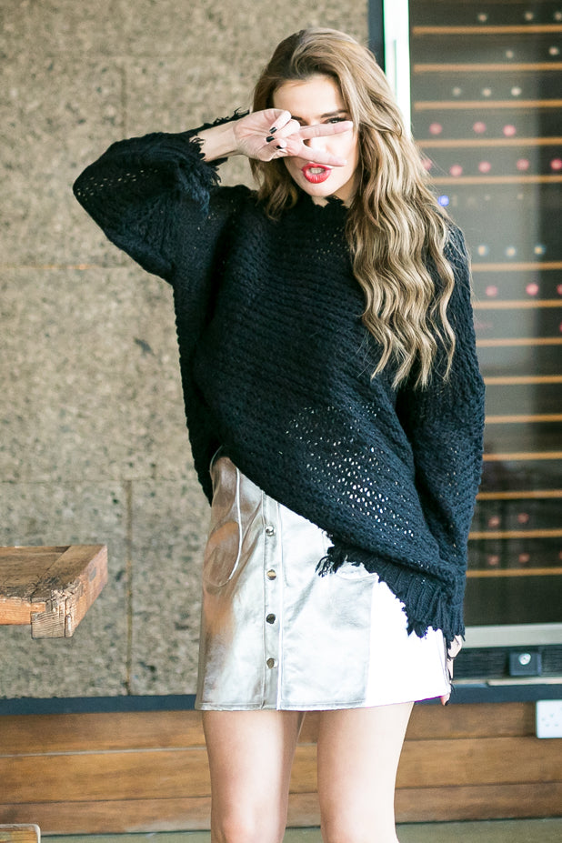 Distressed Over-sized Sweater