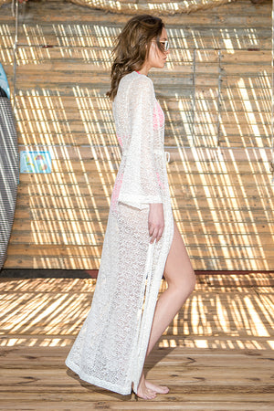 Phax Swimwear - Lace Cover Up Kimono White