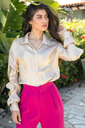 Queencii – Aria Satin Shirt Champagne