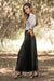 Queencii - Glow Night Metallic Pleated Long Skirt Black