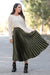 Queencii - Glow Night Metallic Pleated Long Skirt Green