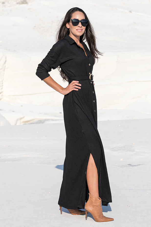 NA-KD – Belted Shirt Maxi Dress Black