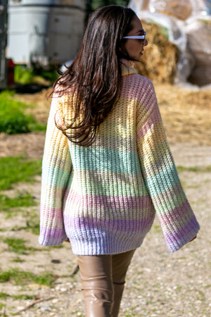 NA-KD - Wide Sleeve Cable Knitted Sweater Multicolor