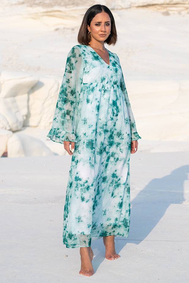 NA-KD – Tie Dye Maxi Dress Green