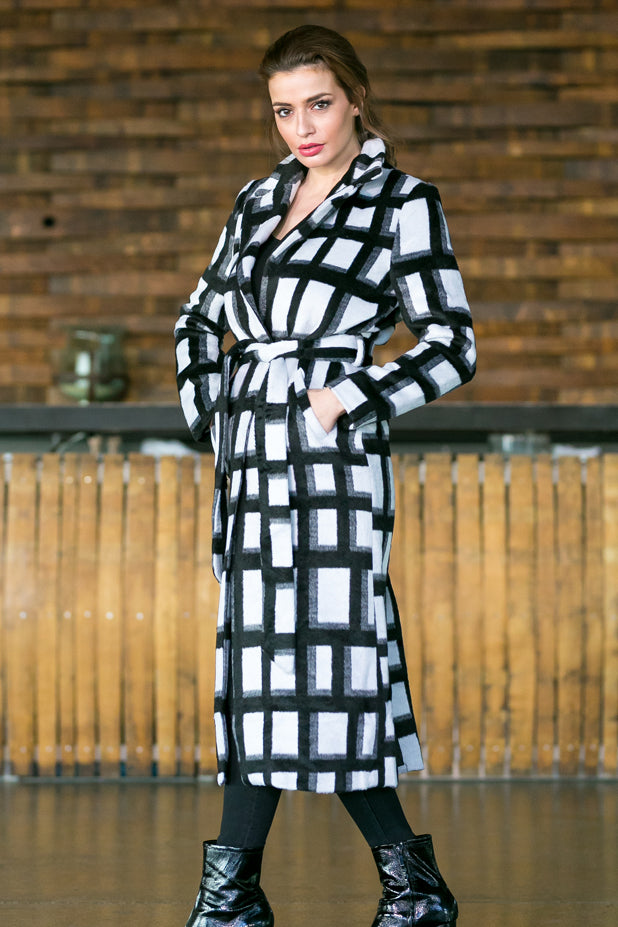 Checked Black & White Coat