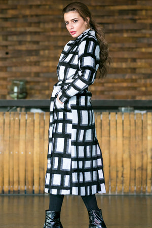 NA-KD - Checked Coat Black & White