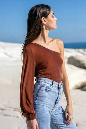Sun Sea & Roses – Alectrona One Shoulder Balloon Sleeve Top Brown
