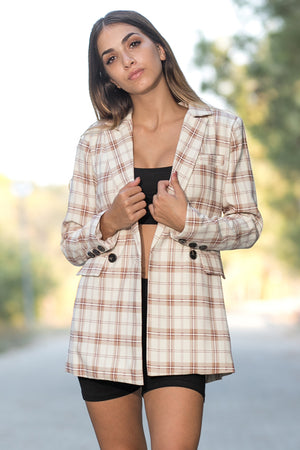 Queencii – Paris Plaid Blazer Multicolor