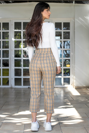 Queencii – Camile Plaid Pants Beige Multicolor