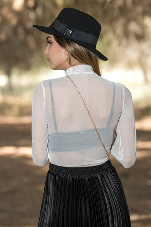 Queencii – Victoria Polo See-Through Cropped Top White