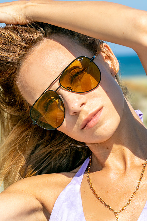 Back In Stock Quay Australia Sunglasses - Sahara BLK/OLV
