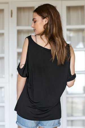 Rut & Circle - Alina Open Shoulder Top Black