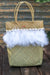 Queencii – Ruth Beach Straw Bag Feathers Seashell Beige White
