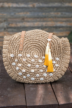 Queencii – Rita Beach Straw Bag Round Tassel Seashell Beige Orange
