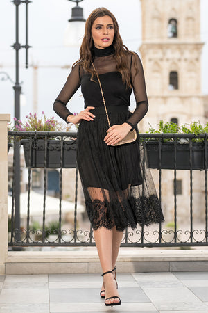 Queencii – Sharon See Through Skirt Black