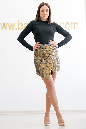 Queencii – Cellina Sequin Wool Skirt Gold