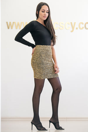 Queencii – Paola Sequin Skirt Gold