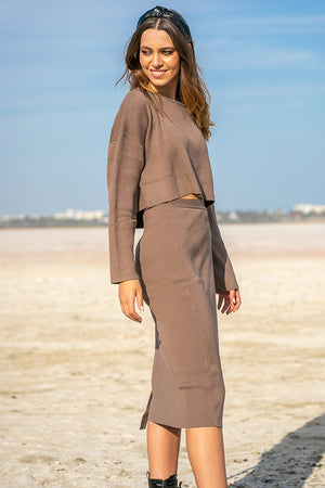 SNDYS – Cece Knit Skirt Chocolate