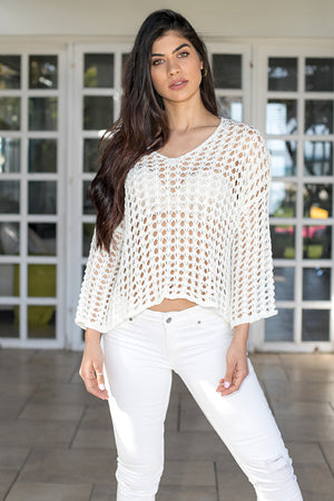 Queencii – Ruby Summer Knit Sweater White