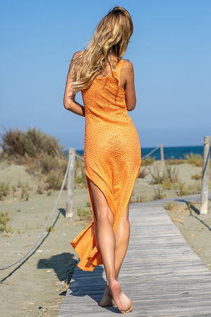 Sun Sea & Roses – Hera Knitted Maxi Dress Coral
