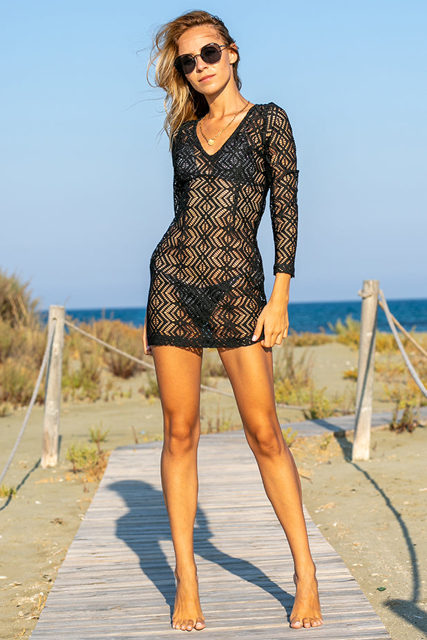 Sun Sea & Roses – Mykonos Mini Lace Dress Black