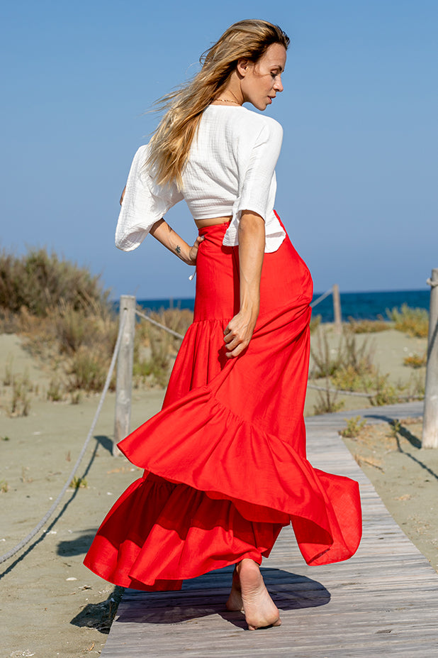 Sun Sea & Roses – Dimitra Long Skirt Red