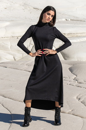 Sun Sea & Roses – Antheia High-Low Hemline Midi Dress Black