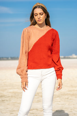 Queencii – Celena Knitted Sweater Red & Pink