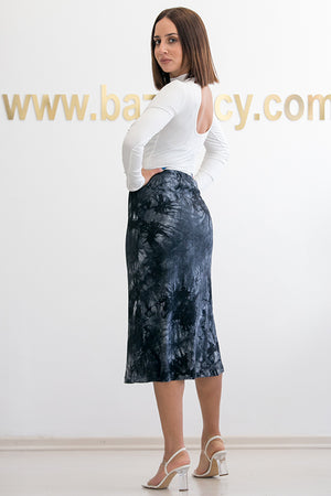 Queencii – Sienna Tie Dye Skirt Black