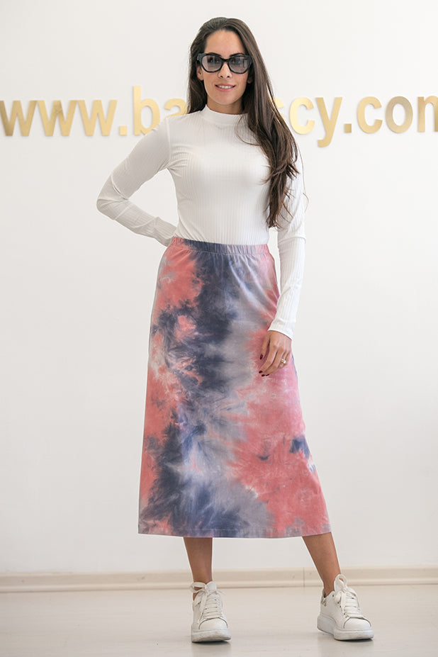 Queencii – Sienna Tie Dye Skirt Orange