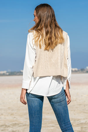 Queencii – Lina Vest Sweater Beige