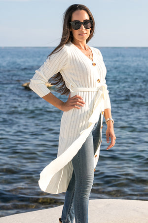 Queencii – Miria Button Down Cardigan – Dress White