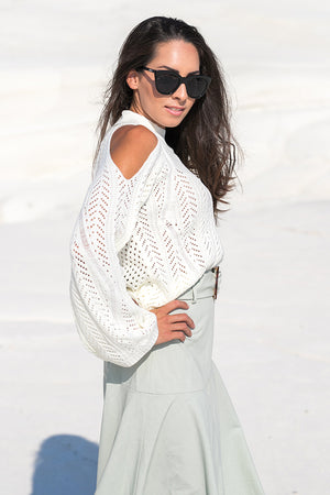 Queencii – Adele Cold Shoulder Sweater White