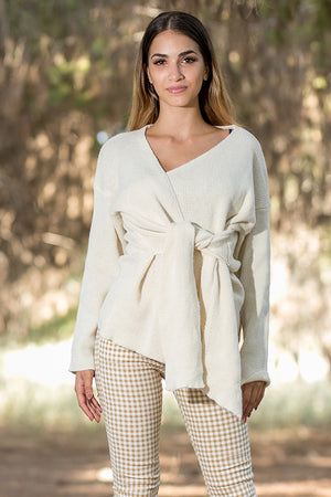 Queencii – Milano Wrap Sweater Beige