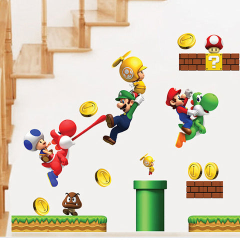 Super Mario Cartoon Wall Stickers - Kids Living Play Rooms or Bedrooms