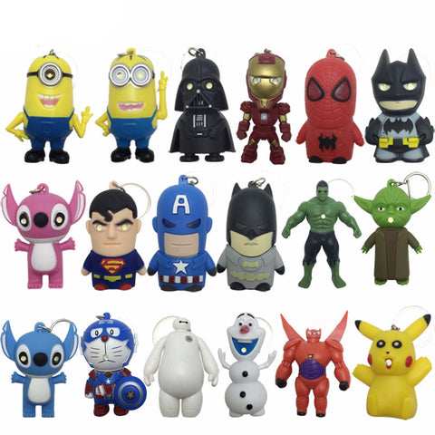 Star Wars Key Chains Minions keychain Iron Man Key Holder Hulk Big Hero 6 Batman Olaf Pikachu Keyrings Spiderman Lighting Sounds - Anime Action Bay