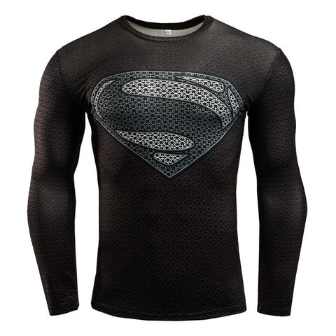 Comic Superhero Men's Long Sleeve Thermal Fitness Shirt - Anime Action Bay
