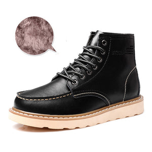 Warm Flat Wear Resistant Men's Leather Boots