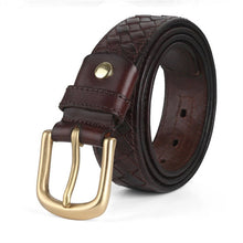 Business Leather Diamond Grid Men's Belts
