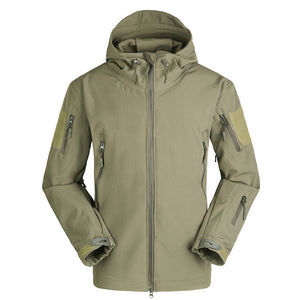 Pure Color Hooded Zippered Polyester Men's Jacket
