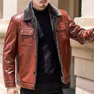 Thickened With Velvet Extra Heat Men's Leather Coat