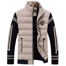Contrast Color Stripe Stand Collar Thicken Men's Down Coat