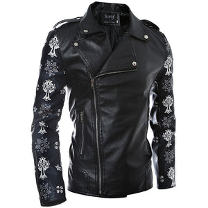 Printing Turn-down Collar Zippered Men's Leather Coat