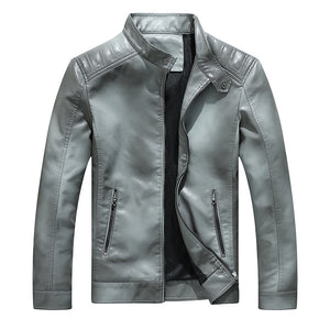 Pure Color Long Sleeve Zippered Men's Pleather Coat