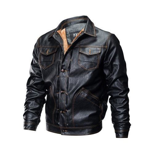 Turn Down Collar Sporty Punk Men's Leather Coat